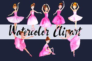 Watercolor Ballerinas Clip Art Set