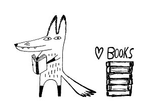 Fox reading books