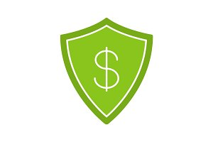 Money security glyph color icon