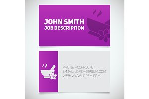 Business card print template with mortar and pestle logo