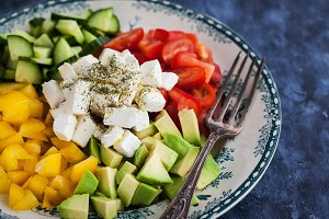 Vegetables and feta cheese salad