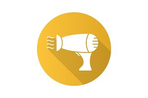 Hair dryer flat design long shadow glyph icon