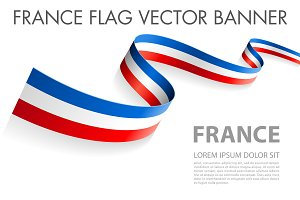 Vector France flag ribbon