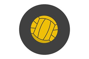 Volleyball ball glyph color icon