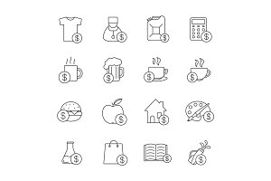 Commercial items linear icons set