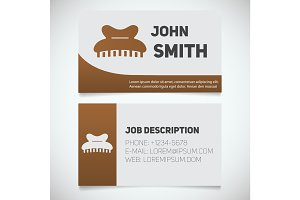 Business card print template with claw hair clip logo
