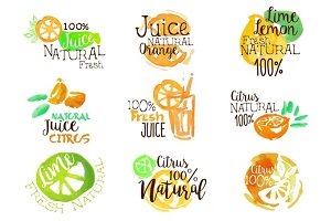 Natural Citrus Juice Promo Signs Colorful Set