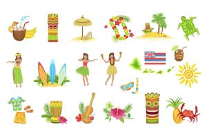 Hawaiian Vacation Set Of Classic Symbols