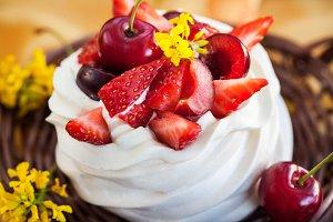 Summer Pavlova meringue cake