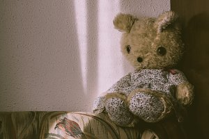 Vintage teddy bear on a dress