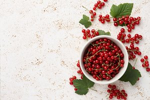 Red currant bowl on stone background