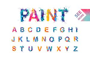 Watercolor splash font. Vector