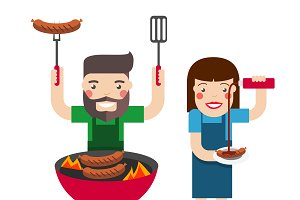 Barbecue cartoon people