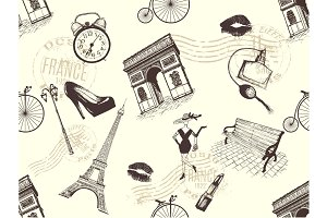 vintage seamless pattern of Paris theme