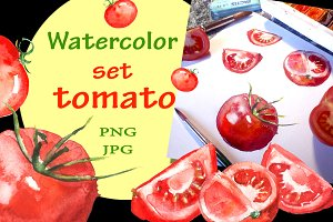 Watercolor set tomato