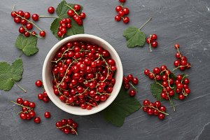 Red currant in a bowl on stone background