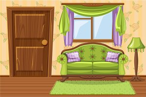 Set cartoon Green Vintage cushioned furniture, Living room