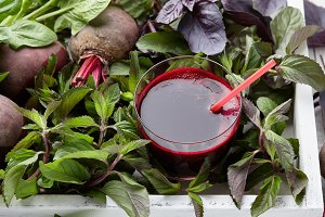 Fresh beetroot juice with herbs