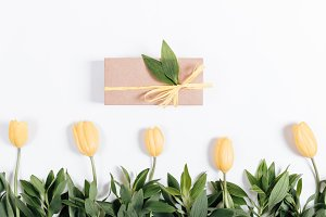 Box with a gift and a row of tulips