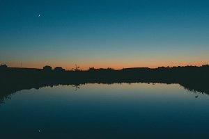 The last light at sunset lake