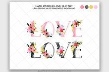 Watercolor Floral Love Clip Art