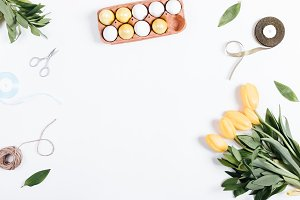 tulips, painted eggs, ribbon