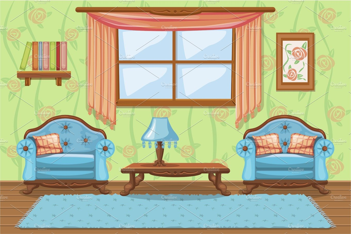 Cartoon Living room with furniture ~ Graphics ~ Creative ...