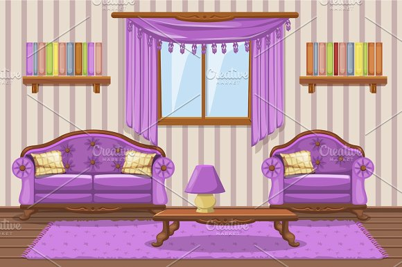 Set Cartoon Cushioned Furniture Violet Living Room