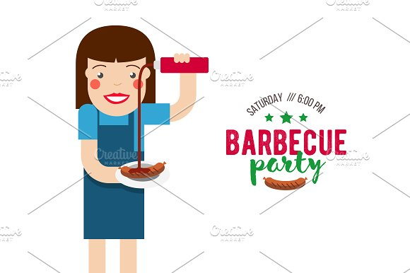 Cartoon Girl On Barbecue Party