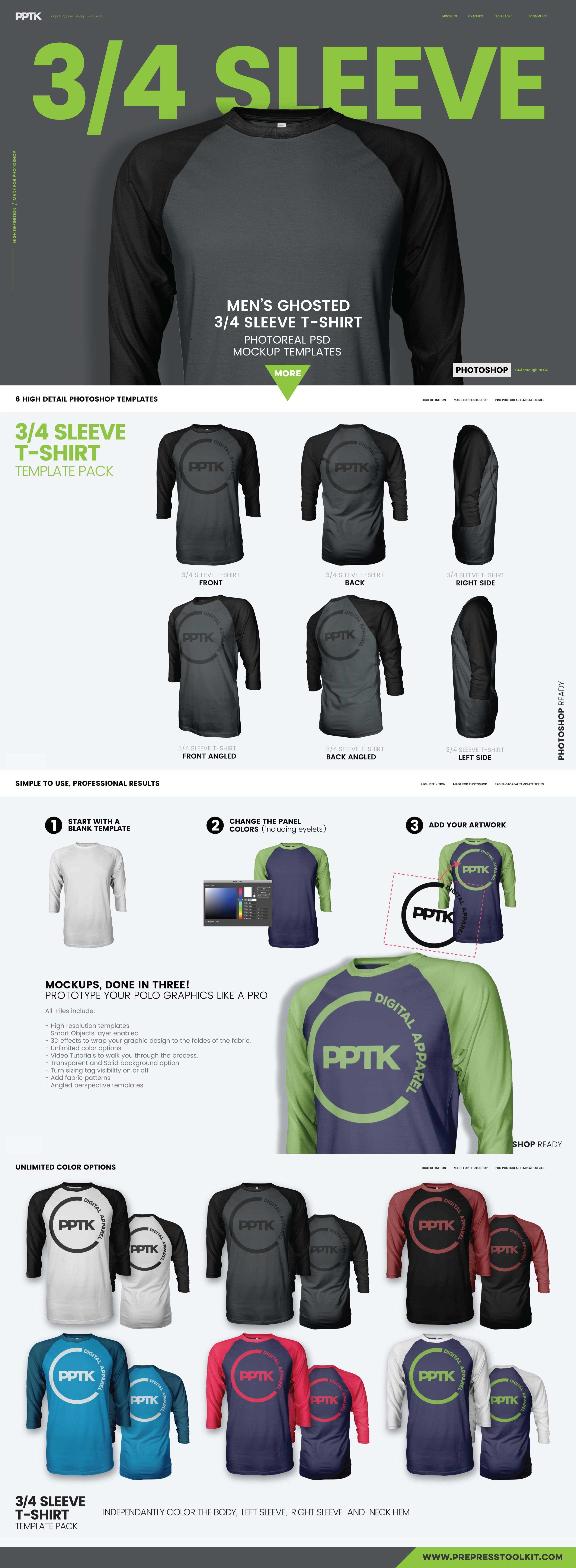 Raglan 3 4 sleeve t shirt template product mockups for 3 4 sleeve shirt template