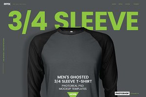 Raglan 3/4 Sleeve T-Shirt Template