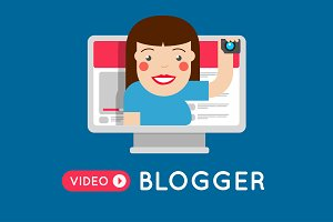 Fashion vlogger girl. Video blogger