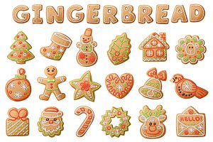 18 Gingerbread vector icons