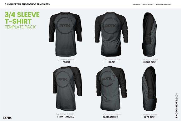 Raglan 3/4 Sleeve T-Shirt Template ~ Product Mockups ~ Creative Market