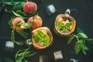 Summer cold peach ice tea