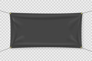 Black fabric banner template with folds