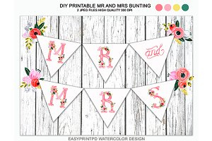 Printable Mr and Mrs Bunting Banner