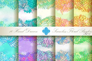 10 Floral Seamless Borders. Set#8