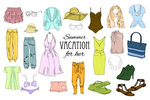 Women Clothes  Set. Mega-clipart