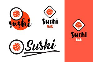 Sushi bar logo set