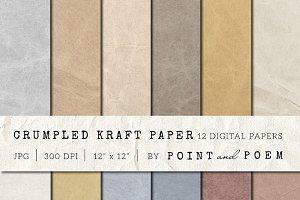 Crumpled vintage kraft paper texture