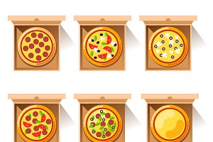Pizza design in boxes
