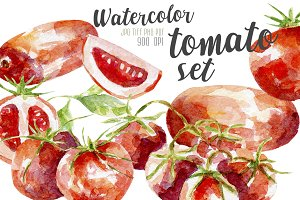 Watercolor tomato set