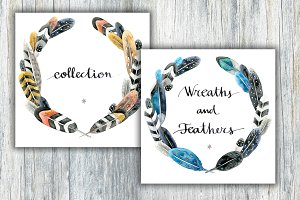 Watercolour decorative feather set