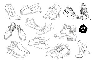Set of drawing Shoes. Clip-art