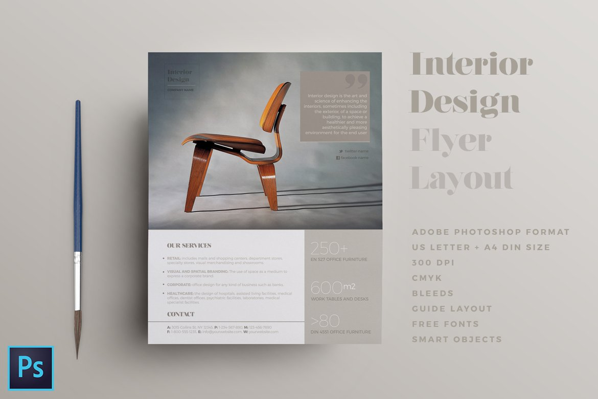Brochure Interior Design About Furniture ~ Interior design flyer layout templates creative
