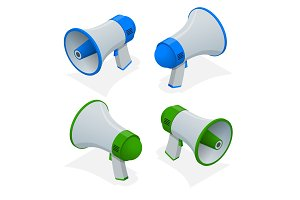 Isometric set of megaphone, bullhorn, loudspeaker isolated on white background.
