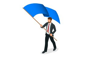 Isometric people. Man with blue flag isolated on white background. Success or freedom concept.