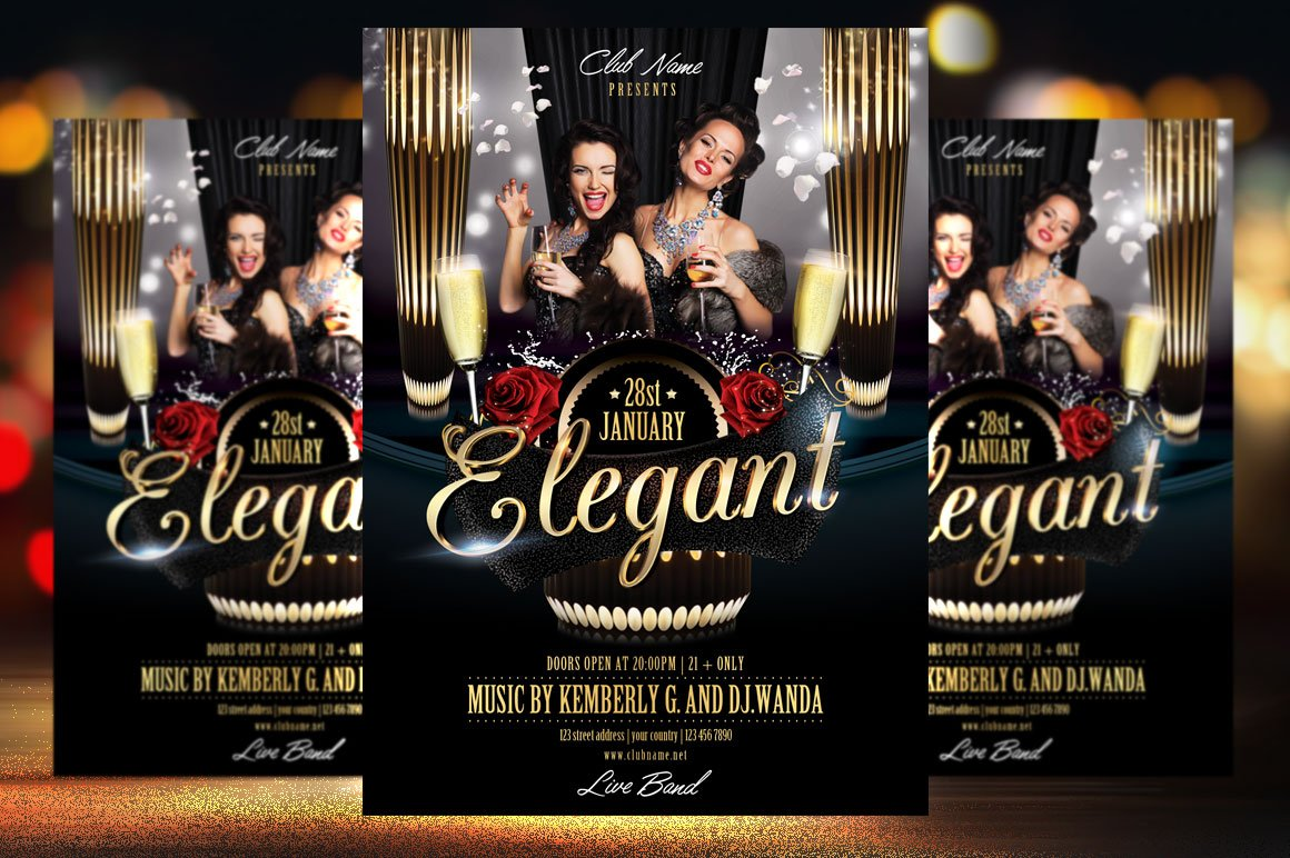 Elegant Party Flyer Template Flyer Templates Creative Market