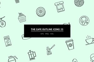 The Cafe Outline Icons 25